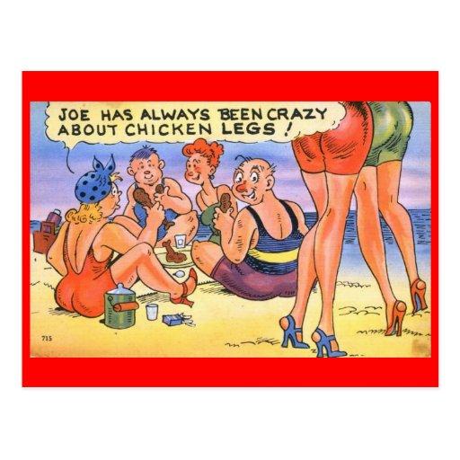 ¡Loco por las piernas de pollo! Vintage cómico Postales