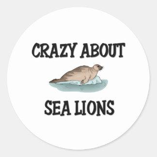Loco por leones marinos pegatina redonda