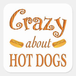Loco por los perritos calientes pegatina cuadradas