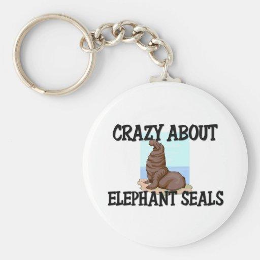 Loco por los sellos de elefante llaveros