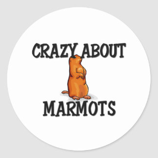 Loco por marmotas pegatina redonda