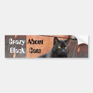 Loco por pegatina para el parachoques de los gatos pegatina para auto