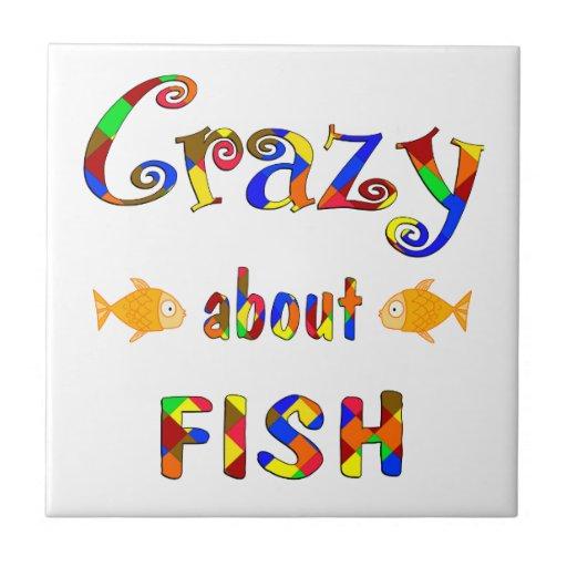 Loco por pescados azulejo cuadrado pequeño