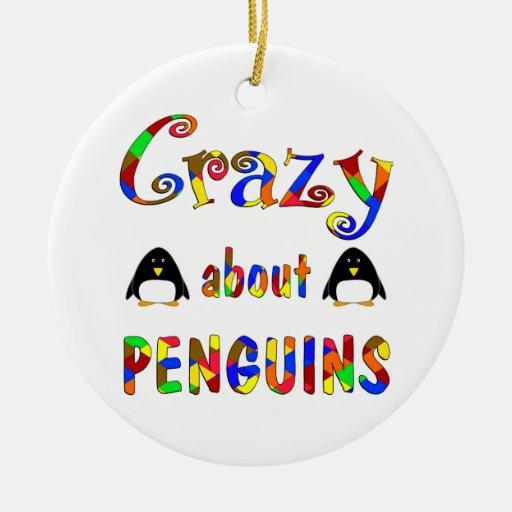 Loco por pingüinos ornamento para arbol de navidad