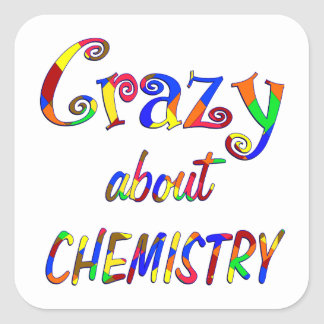 Loco por química calcomanía cuadrada