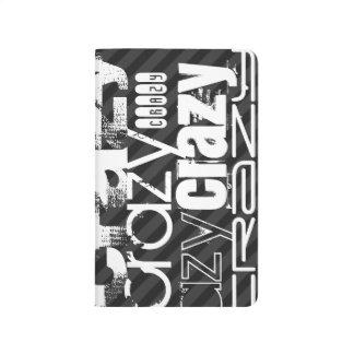 Loco; Rayas negras y gris oscuro Cuaderno Grapado