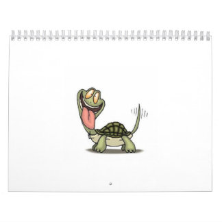 loco-tortuga-dibujo animado-cómico calendario de pared