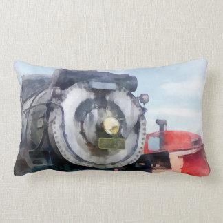 Locomotive and Caboose Throw Pillow