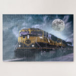 """Locomotive and Full Moon Jigsaw Puzzle<br><div class=""""desc"""">a modern locomotive against an alien sky and a full moon.</div>"""