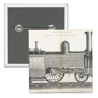 Locomotive Engine, engraved by J.W. Lowry Button
