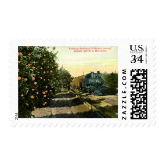 Locomotive in California Orange Grove Vintage Stamps