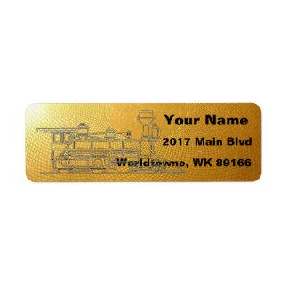 Locomotive on gold return address label