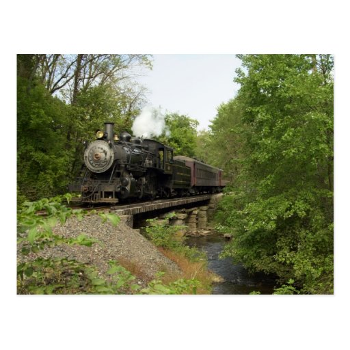 Locomotive on Trestle Postcard