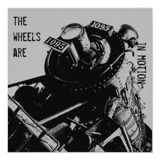 Locomotive party invitation -grey