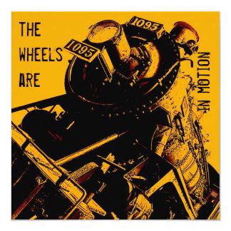locomotive party invitation - yellow