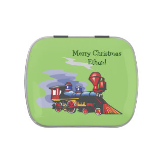 Locomotive Personalized Christmas Jelly Belly Tins