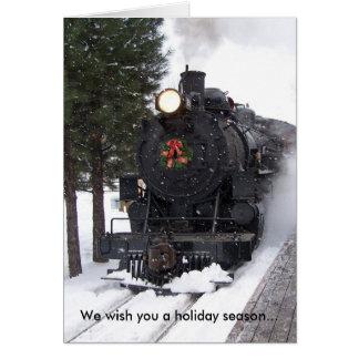 Locomotive Wreath Christmas Card
