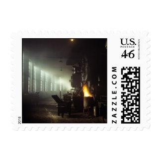 Locomotives Roundhouse Postage Stamp