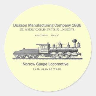 Locomotora 1886 de la transferencia de Dickson Etiquetas Redondas