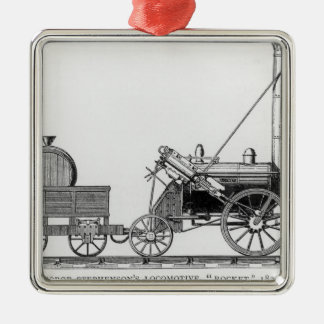 """Locomotora de George Stephenson, """"Rocket"""", 1829 Adorno Cuadrado Plateado"""