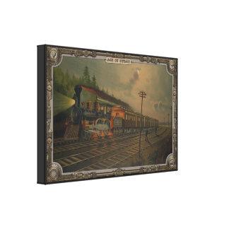 Locomotora de la noche. Edad del vapor #002. Impresiones De Lienzo