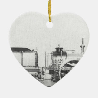 Locomotora de vapor austríaca adorno de cerámica en forma de corazón
