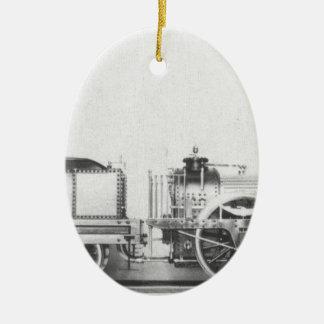Locomotora de vapor austríaca adorno ovalado de cerámica