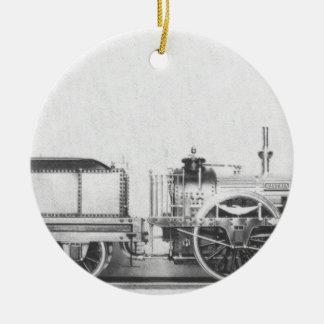 Locomotora de vapor austríaca adorno redondo de cerámica
