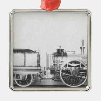 Locomotora de vapor austríaca adorno cuadrado plateado