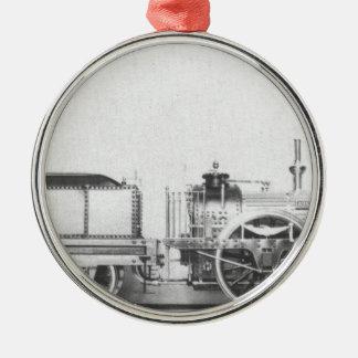 Locomotora de vapor austríaca adorno redondo plateado