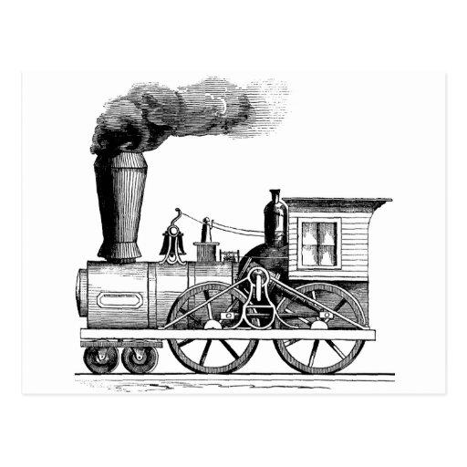 Locomotora de vapor de antaño postales