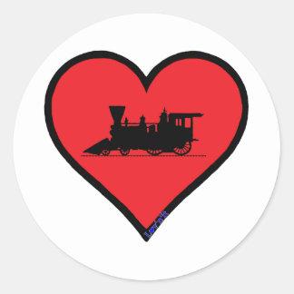 locomotora de vapor del ventage pegatina redonda