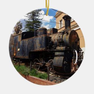 Locomotora de vapor del vintage adorno redondo de cerámica