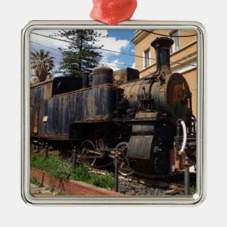 Locomotora de vapor del vintage adorno cuadrado plateado