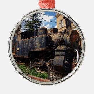 Locomotora de vapor del vintage adorno redondo plateado