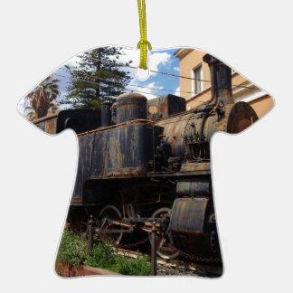 Locomotora de vapor del vintage adorno de cerámica en forma de camiseta