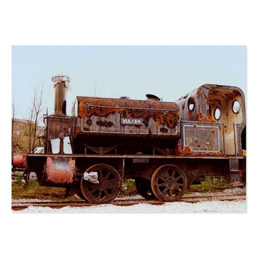 Locomotora de vapor ferroviaria oxidada del ATC de Tarjetas De Visita Grandes