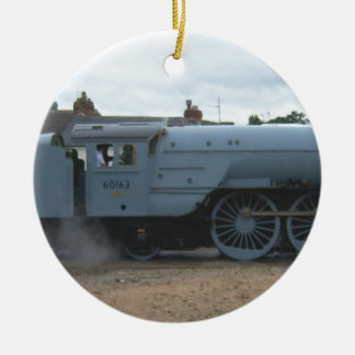 Locomotora de vapor inglesa adorno redondo de cerámica