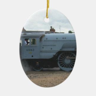 Locomotora de vapor inglesa adorno ovalado de cerámica