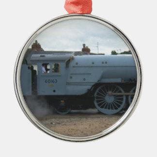 Locomotora de vapor inglesa adorno redondo plateado