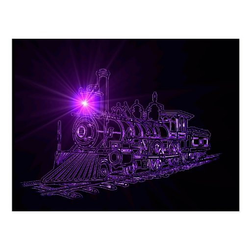 Locomotora de vapor púrpura de neón postal