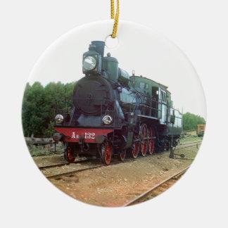Locomotora de vapor rusa adorno redondo de cerámica
