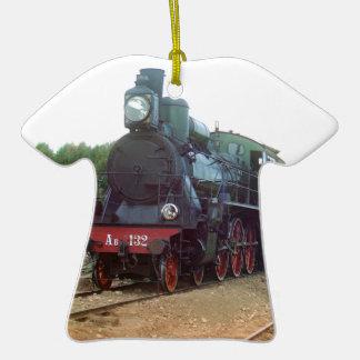 Locomotora de vapor rusa adorno de cerámica en forma de camiseta