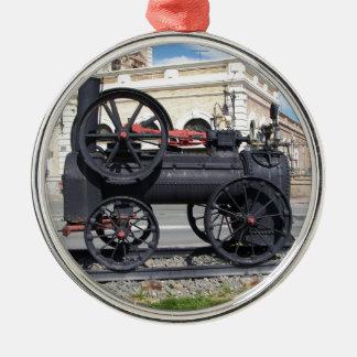 Locomotora de vapor temprana en Cartagena Adorno Redondo Plateado