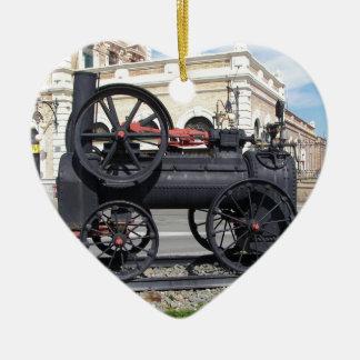 Locomotora de vapor temprana en Cartagena Adorno De Cerámica En Forma De Corazón