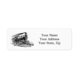 Locomotora de vapor vieja etiquetas de remite