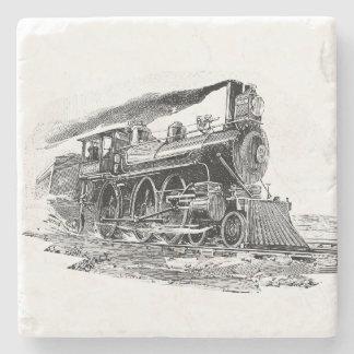 Locomotora de vapor vieja posavasos de piedra