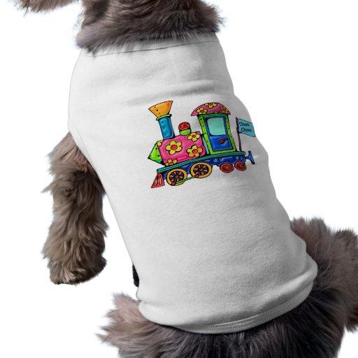 Locomotora del flower power playera sin mangas para perro