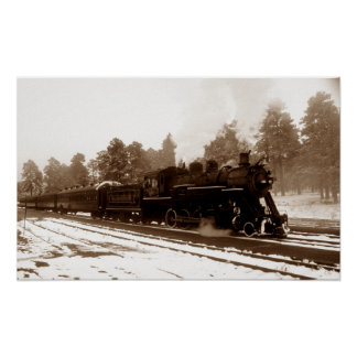 Locomotora del tren de ferrocarril en escena del i póster