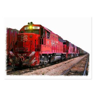 Locomotora diesel y tren rojos tarjetas de visita grandes